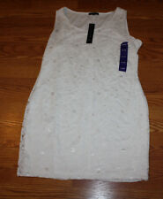 NWT Womens TIANA B. Ivory Lace Sleeveless Dress Size L Large $98