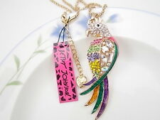 Betsey Johnson colour Parrot  inlay Crystal Pendant Necklace Sweater chain JJ02