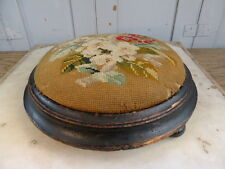 Antique Victorian embroidered cross stitch footstool