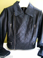 NEW! Bagatelle Vegan Leather Black Cropped Quilted Sexy Moto Biker Jacket M $460