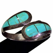 Vtg TAXCO 950 Sterling Silver Turquoise Clamper Bracelet Clamp Hinge Cuff Bangle