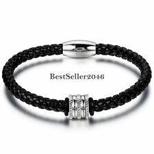 Men's Black Braided Leather Bracelet Bangle w Stainless Steel Magnetic Clasp