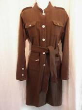 Womens Small Wool Coat Military Belt Brass Buttons Chocolate Brown Galeno