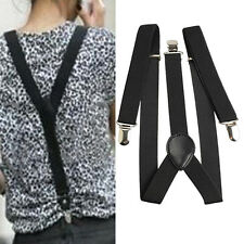 Mens Womens Black Clip-on Suspenders Elastic Y-Shape Adjustable Braces New