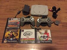 Sony PS1 PS One Slim Console All Wires 2 Controllers 4 Games Bundle