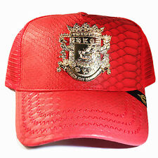 Puerto Rico Trucker Snapback Hat Red Artificial Leather Gold badge Cap