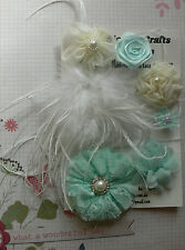 MINT & IVORY Organza Lace Satin 1 Lg Feather 6 Flowers 25-70mm Njoyfull Crafts Z