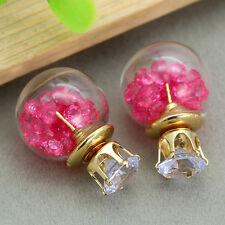 Fashion Beauty Doubled Side Acrylic Stud Pearl Big Earrings Women Pearl Jewelry