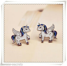 Ladies girls unicorn flying horse stud not dangle gift jewellery earrings new U1