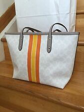 NWT Coach PVC Coated  Signature Varsity Stripe Large City Tote Bag  $300  F38405