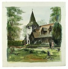 Greensted-juxta-Ongar Signed Unframed Landscape Watercolour Painting M Harrison