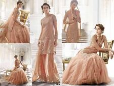 ZOYA Designer Wedding Peach Net Semi stitched Lehenga/Plazzo Style Salwar Suit