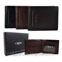 NEW Mens Fine Grain Classic LEATHER WALLET by OLLY's Wilson Collection Gift Box