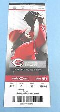 Cincinnati Reds vs Milwaukee Brewers 2012 Ticket w/Stub Wednesday 9/20/2012