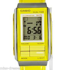 Casio LA201WBL-9A Women's Futurist Yellow Leather Band Alarm Chronograph Watch