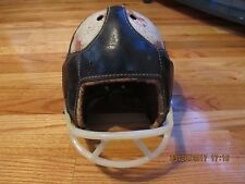 VINTAGE CIRCA 1930'S LEATHER W/HARDSHELL TOP FOOTBALL HELMET W/ FACEGUARD