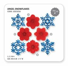 Jem Set 4 ANGEL Fiocchi di Neve Natale Xmas DESIGN CUTTER glassa per torta Sugarcraft
