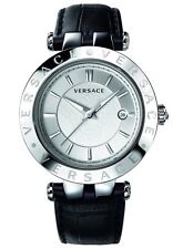 Versace Watch VQP010015 V-Race Black Leather Strap Stainless Steel Men's Watch