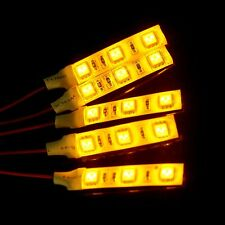 2pcs 5cm 5050-SMD Chips DC 12V Yellow Amber Waterproof LED Strip Car Lights
