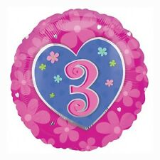 """18"""" Pink Heart And Flowers Happy 3rd Birthday Round Foil Balloon"""