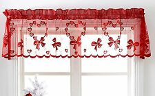 Christmas Xmas Valance Cafe Net Curtain Pelmet Red Heart Slot Top Ready Made