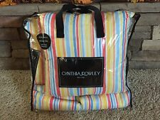 CYNTHIA ROWLEY  4-PC FULL/QUEEN QUILT SET BLUE CORAL YELLOW WHITE STRIPE - NWT
