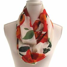 New Women's Light Fabric Infinity Scarf Off White Orange Red Green Floral Snood
