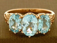 R097 Solid 9K Rose Gold NATURAL Topaz Trilogy Ring Past,Present,Future size N