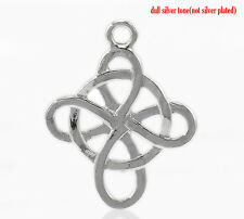 4 Pc Silver Tone Celtic Weave Cross Charm Pendants 28x23mm LC3184