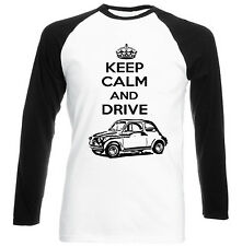 FIAT 500 1958 KEEP CALM AND DRIVE P - NEW COTTON TSHIRT - ALL SIZES IN STOCK