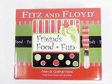 Fitz & Floyd Friends Gather Here Christmas Snack Cheese Plate W/ Spread Knife