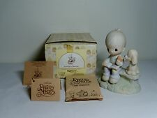Enesco Precious Moments E 3110/B Loving is Sharing w Puppy Figurine Box Cross +