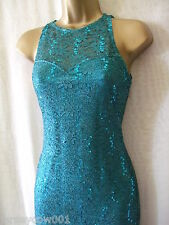 NEW £45 JANE NORMAN SIZE 8, HIGH NECK LACE & SEQUIN TEAL MIDI DRESS