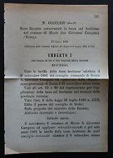 REGIO DECRETO - Concernente tassa sul bestiame -Monte San Giovanni Campano- 163