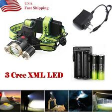 20000LM CREE 3*T6 LED 4-mode Headlamp Head Light Torch+Charger+2XBattery USA