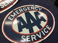 "Beautiful Vintage AAA EMERGENCY SERVICE Porcelain Sign 22"" X 17"""