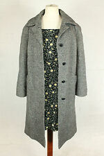 VINTAGE 90s PEA COAT TRENCH COAT BLACK WHITE CHECK PATTERN WOMENS 12 14
