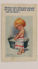 1920s Inter-Art Donald McGill Comic Postcard No 4174 Baby Tin Bath Time