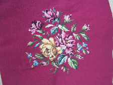 """Vintage Needlepoint Wool Handmade Completed Chair / Pillow Top Floral 17.5"""" Sq."""