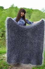 """New russian shawl hand knitted longhair curly mohair cashmere very warm 42""""x 42"""""""