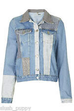 MOTO Patchwork Western Denim style Jacket Topshop size uk 6 - us 2 - eur 34 new