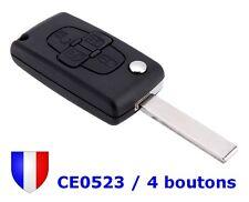 Coque Plip Boitier Télécommande Clé 4 boutons CE0523 HU83 pour Peugeot 1007 807