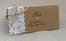 10 x Handmade Personalised Vintage Name Place Cards - Kraft Lace Twine Rustic