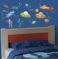 GLOW in dark PUFF SPACESHIPS wall stickers 50 decals PLANETS MOON outer space