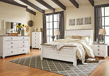 CAROLINE - 5pcs Traditional Cottage White Queen King Panel Bedroom Set Furniture