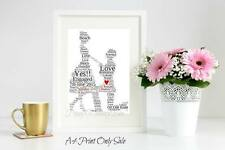 Personalised Engagement Word Art Couple Gift Keepsake Heart Unique A4 Print Only