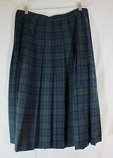 Pendleton Wool Black Watch Tartan Pleated Skirt Blue Black Green Plaid Sz XL 16