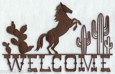 HORSE WESTERN WELCOME SIGN SET OF 2 BATH HAND TOWELS EMBROIDERED BY LAURA