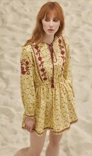 $495 Lupe Brand Coba N Vintage Italian Embroidered Boho Mini Dress Small 4 6 New
