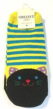 FOREVER 21 Women's Cat Socks - yellow & blue stripes and black cat - cute kitty
